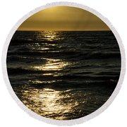 Sundown Reflections On The Waves Round Beach Towel