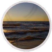 Sundown Scintillate On The Waves Round Beach Towel