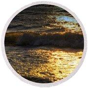 Sundown Shimmer On The Waves Round Beach Towel