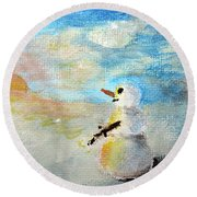 Sundown Snowman Round Beach Towel