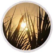 Sundown Through The Grass Round Beach Towel