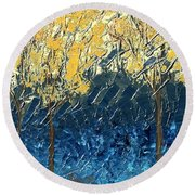 Sundrenched Trees Round Beach Towel