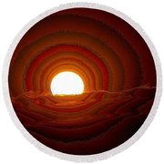 Sunfall Behind The Mountains Round Beach Towel