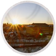 Sunflare At The Museum Round Beach Towel
