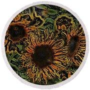 Sunflower 18 Round Beach Towel
