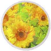 Sunflower 19 Round Beach Towel