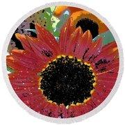 Sunflower 31 Round Beach Towel