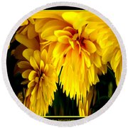 Sunflower Abstract 1 Round Beach Towel
