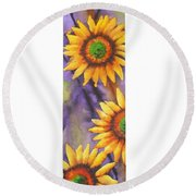 Sunflower Abstract  Round Beach Towel