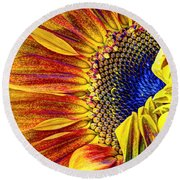 Sunflower Abstract Round Beach Towel