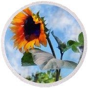 Sunflower Against The Sky Round Beach Towel by Susan Savad