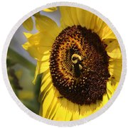 Sunflower And Bee-3922 Round Beach Towel