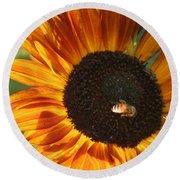Sunflower And Bee-4041 Round Beach Towel