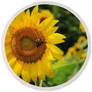Sunflower And Bee II Round Beach Towel