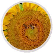 Sunflower And Bees Round Beach Towel