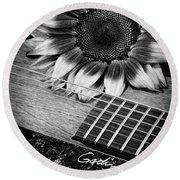 Sunflower And Guitar Round Beach Towel