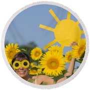 Sunflower And Sun Round Beach Towel