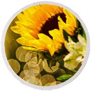 Sunflower And The Lights Round Beach Towel