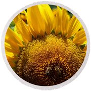 Sunflower And Two Bees Round Beach Towel