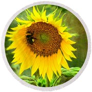 Sunflower And Visitors Round Beach Towel