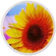 Sunflower At Beach Round Beach Towel
