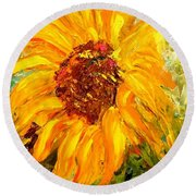 Sunflower Round Beach Towel by Barbara Pirkle