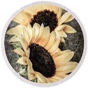 Sunflower Blossoms Round Beach Towel