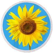 Sunflower Blue Sky Round Beach Towel