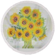 Sunflower Bouquet Round Beach Towel
