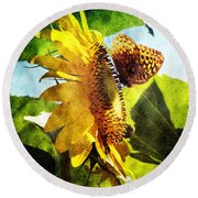Sunflower Butterfly And Bee Round Beach Towel