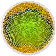 Sunflower Center Round Beach Towel