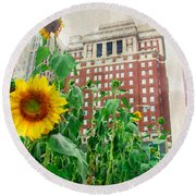 Sunflower City Round Beach Towel