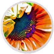 Sunflower Crazed Round Beach Towel