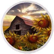 Sunflower Dance Round Beach Towel by Debra and Dave Vanderlaan