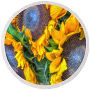Sunflower Delight Round Beach Towel