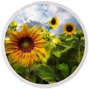 Sunflower Dream Round Beach Towel by Debra and Dave Vanderlaan