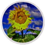 Sunflower Electrified Round Beach Towel