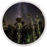 Sunflower Field At Night Round Beach Towel