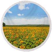 Sunflower Field New Jersey Round Beach Towel