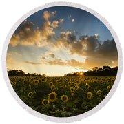 Sunflower Field Sunset Round Beach Towel