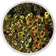 Sunflower Fields Forever Round Beach Towel