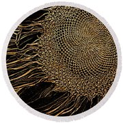 Sunflower Gold Leaf Sketch Round Beach Towel