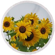 Sunflower Group Round Beach Towel