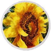 Sunflower Heart Round Beach Towel