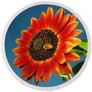 Sunflower Honey Bee Round Beach Towel