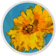Sunflower Illusion Round Beach Towel