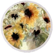 Sunflower Impressions Round Beach Towel