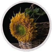 Sunflower In A Basket Round Beach Towel