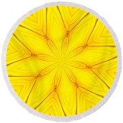 Sunflower Kaleidoscope 1 Round Beach Towel