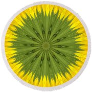 Sunflower Kaleidoscope 3 Round Beach Towel
